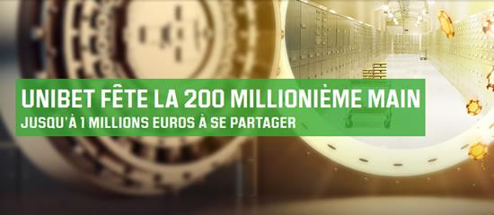 200 millionième main d'Unibet Poker : 1 million d'euros à gagner