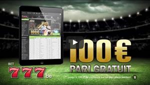 Vidéo de la publicité Bet777.be : 100 euros de bonus