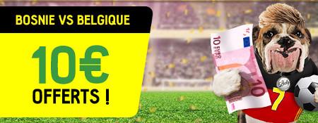 10 € de free bet pour parier sur Bosnie x Belgique
