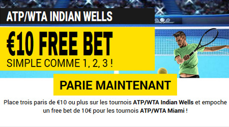 10 euros de freebet sur le tennis avec Betfirst