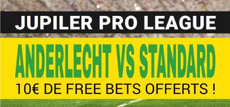 Anderlecht x Standard: Empochez 10 euros de paris gratuits
