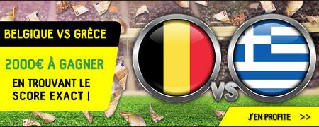 2.000 € pour le score exact de Belgique x Grècesur BetFirst