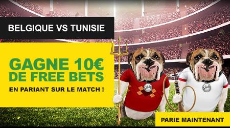 Belgique x Tunisie: Gagnez un pari gratuit de 10 euros sur BetFirst
