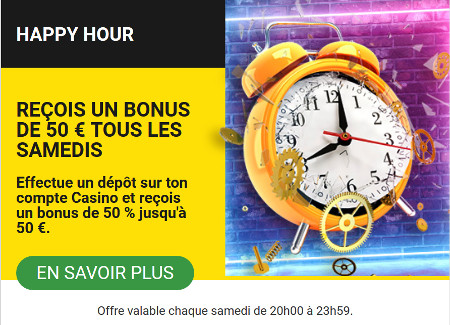 50 € de bonus (50% de dépôt) tous les samedis