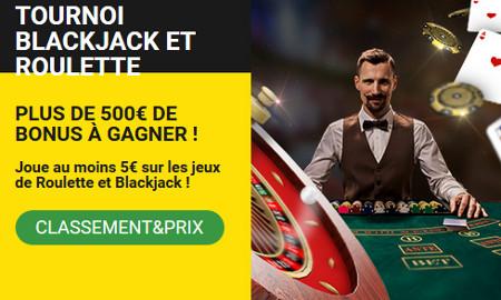 500 euros de bonus à gagner lors du tournoi Blackjack et Roulette