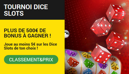 Jouez sur les dice slots pour gagner plus de 500 euros de bonus