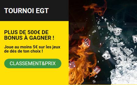 500 euros de bonus à gagner lors du tournoi EGT