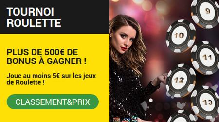 Plus de 500 euros de bonus à gagner avec le tournoi Roulette