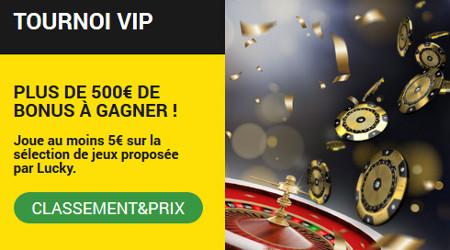 Plus de 500 euros de bonus à gagner avec le tournoi VIP