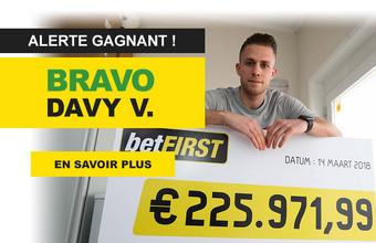 Davy V. gagne 225.971,99 € sur betFirst