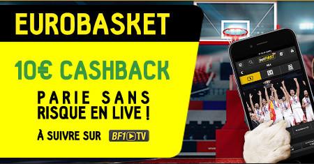EuroBasket: 10 € de cashback pour votre premier pari en direct