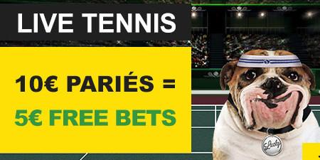 Tennis sur BetFirst : Pariez et gagnez 5 € de free bet