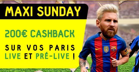 Maxi Sunday de BetFirst : 200 € de cashback sur vos paris lives et pré-live