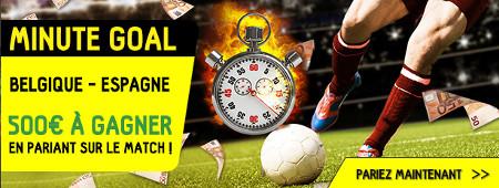 Belgique x Espagne: Trouvez la minute exacte du premier but et gagnez 500 €