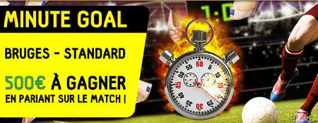 Trouvez la minute du premier but de FC Bruges x Standard : 500 € à gagner en pariant sur la match