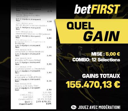 Paris sportifs: Un joueur gagne 155000 euros avec le bookmaker Betfirst