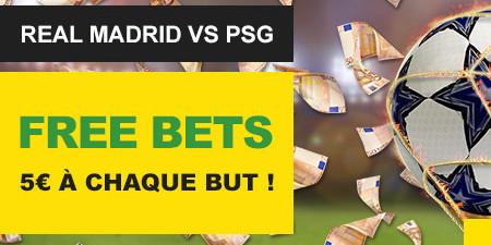 Real Madrid x PSG: Gagnez un pari gratuit de 5 € pour chaque but