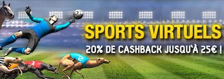 20 % de cashback par semaine sur les sports virtuels