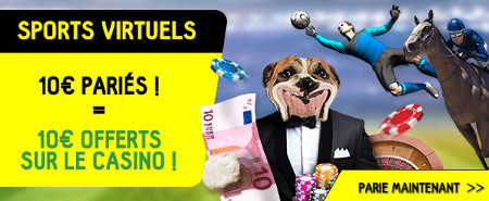 Pariez 10 € sur les sports virtuels et gagnez un bonus de 10 € au casino