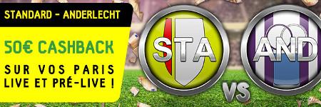Standard x Anderlecht: 50 € de cashback sur betfirst.be