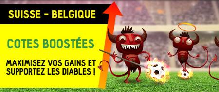 Suisse x Belgique: Cotes boostées sur betFirst