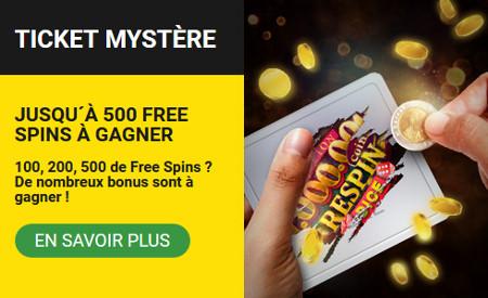 Gagnez 500 spins gratuits avec le Ticket Mystère