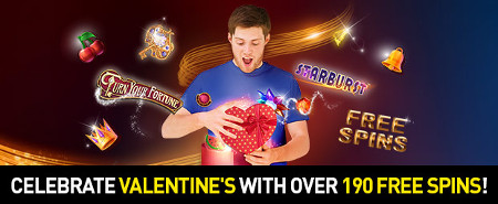 190  spins gratuits à gagner pour la Saint-Valentin