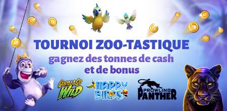 777 € cash à gagner lors du tournoi «Zoo-tastique»