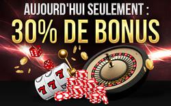 30 % de bonus offerts lors de votre prochain dépôt avec le code bonus-2015