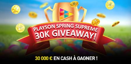 30.000 euros à gagner sur le casino777 avec le Playson Spring  Supreme Giveaway