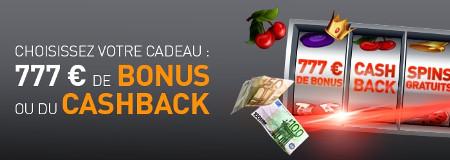777 €, cashback ou spins gratuits : Faites votre choix au casino777