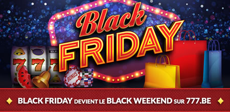 Black WeekEnd sur 777.be : spins gratuits et cashbacks pendant 3 jours