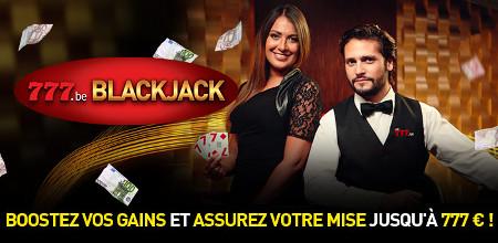 Des cartes bonus et cashback sur les tables de blackjack777 jusqu'à 777 €