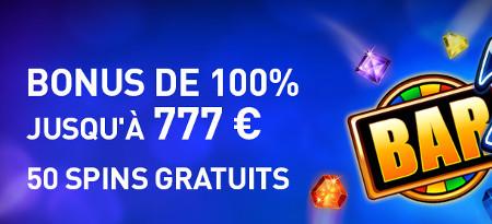 100% de bonus et 50 parties gratuites à l'inscription sur le casino777