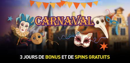 Carnaval : Spins gratuits et bonus de dépôt sur le casino777