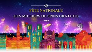 6.300 free spins offerts pour la Fête Nationale par la Casino 777