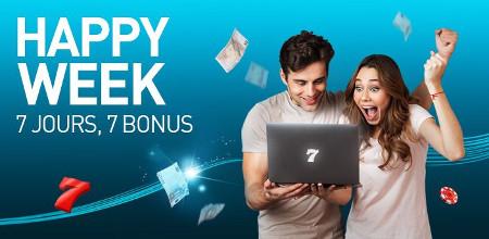 Happy Week : Un bonus par jour sur le casino777 pendant une semaine