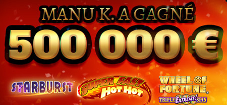 Manu K. gagne 500.000 euros sur le casino777