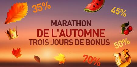 Marathon de l'automne : Trois bonus pendant trois jours sur le casino777