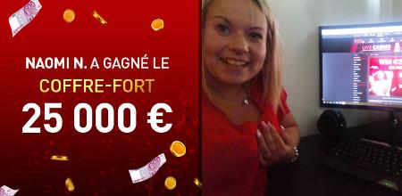 Naomi a ouvert le coffre-fort du casino777 et gagne 25.000 €