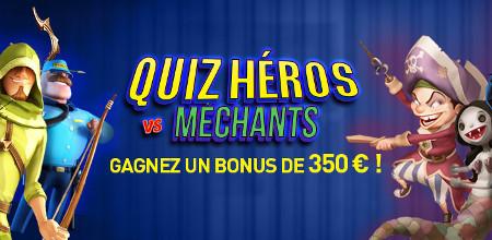 350 € de bonus sur le casino777 avec le Quiz Héros vs Méchants