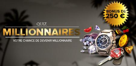 250 € de bonus ce week end avec le Quiz Millionnaires du casino777