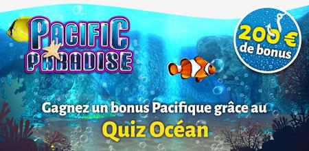 Quiz Océan : 33% de bonus (200 € max) sur casino777.be