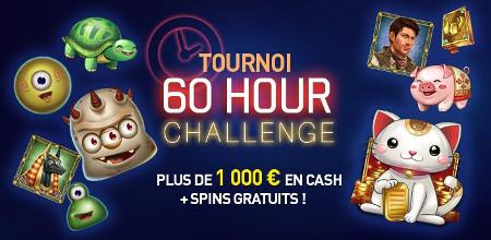 Du cash et des spins gratuits à gagner lors du tournoi60 Hour Challenge