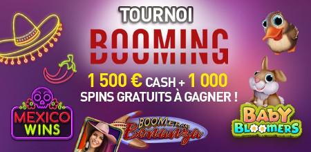 Du cash et des spins gratuits à gagner lors du tournoi Booming du Casino777