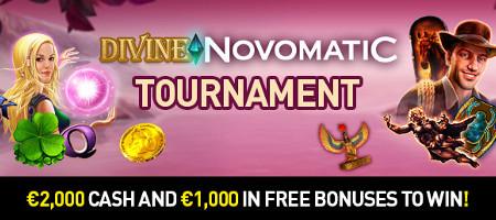 2.000 euros cash et 1.000 euros de bonus au tournoi le tournoi Divine Novomatic