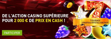 2.000 € de cash à gagner avec le tournoi Fruits & Crystals du casino777