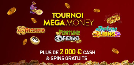Tournoi Mega Money Fortune Panda, Fortune Lions et 88 Riches