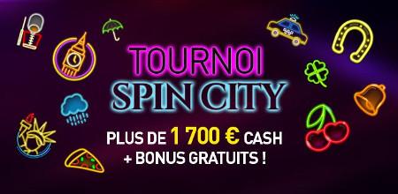 1.700 euros cash et des bonus à gagner lors du tournoi Spin City