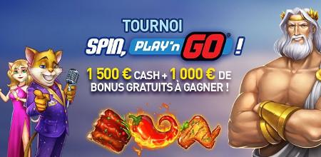 1.500 € en cash + 1.000 € de bonus au tournoi Spin, Play �N Go du Casino 777